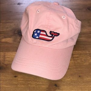 Vineyard Vines Pink American Flag Whale Hat